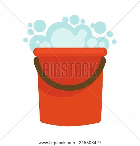 Water bucket with detergent soap foam flat icon. Vector isolated basin with washing liquid bubbles for home clean or house cleaning symbol