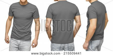 Young male in blank gray t-shirt, front and back view, isolated white background with clipping path. Design men tshirt template and mockup for print.