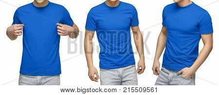 Young male in blank blue t-shirt, front and back view, isolated white background with clipping path. Design men tshirt template and mockup for print.