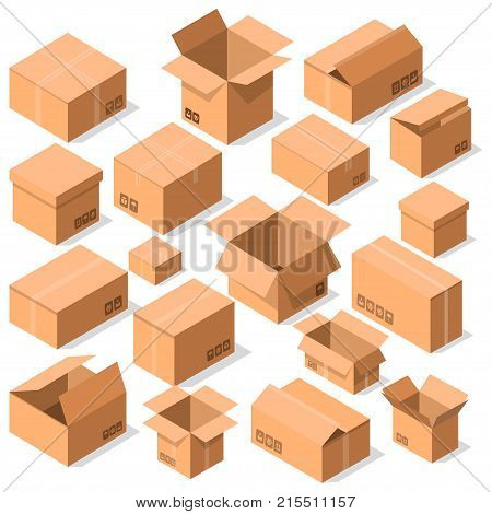Empty opened cardboard boxes icon set. Delivery tare, goods package collection vector illustration isolated on white background. Shipping boxes for web and mobile application in flat style.