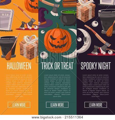 Halloween party cartoon flyers set. Trick or treat, spooky night event. Potion cauldron, witch hat, rip gravestone, witch broom, executioner ax, pumpkin head jack, crescent moon vector illustration.