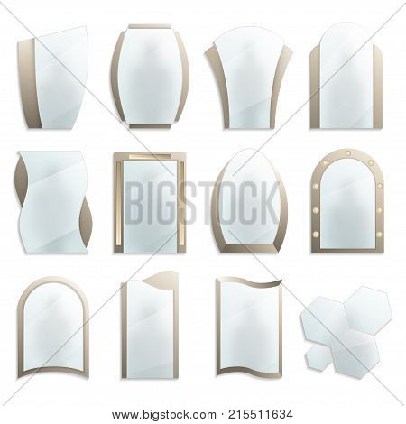 Home decorative wall mirrors icon set. Different realistic mirrors in frames vector illustration isolated on white background. House or bathroom modern furniture design element collection.