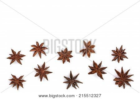 Star anise isolated on white background with copy space for your text. Top view. Flat lay pattern.