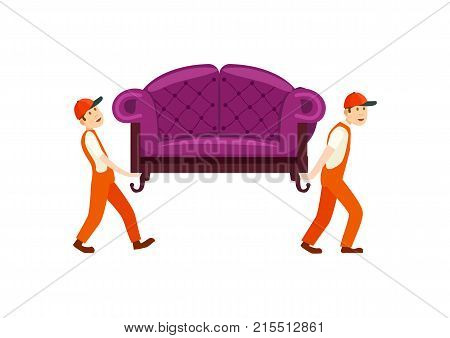Furniture delivery service icon with workers carry sofa. Home delivery shipping service, furniture transportation company, moving service vector illustration