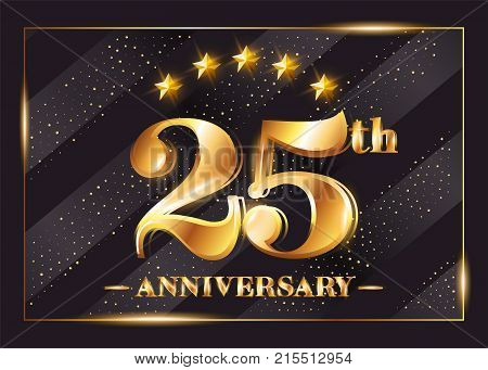 25 Years Anniversary Celebration Vector Logo. 25th Anniversary Gold Icon with Stars and Frame. Luxury Shiny Design for Greeting Card Invitation Congratulation Card. Isolated on Black Background.