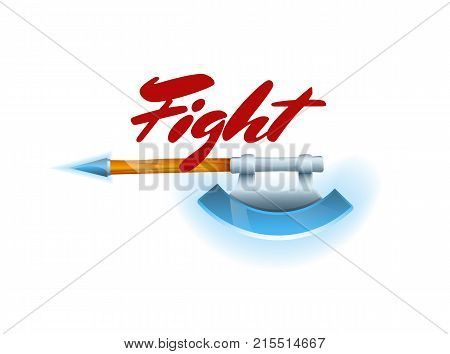 Fight game element with hatchet. Shiny medieval weapon for computer game design. Confrontation versus sign, fight opposition concept, epic battle competition vector illustration.