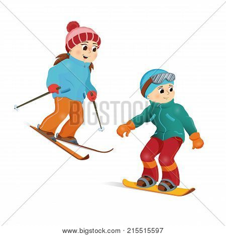 Happy girl skiing and boy snowboarding, winter sport activity, cartoon vector illustration isolated on white background. Teenage kids, children, boy and girl doing winter sport - ski and snowboard