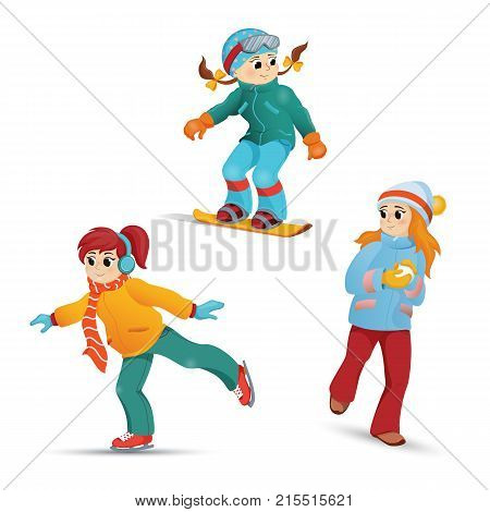 Girls having fun in winter - ice skating, snowboarding, playing snowballs, cartoon vector illustration isolated on white background. Girls ice skating, snowboarding, playing snowballs in winter