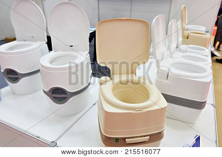 Portable Chemical Toilets In Shop At Exhibition