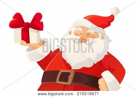 Christmas card. Funny cartoon Santa Claus holding present with bow in his hand. Red Santa hat. Great for Christmas and New Year posters, gift tags and labels