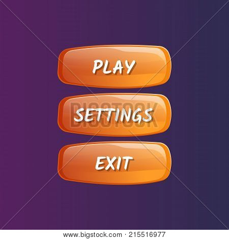 Orange board for game menu interface. Play, settings and exit buttons. Bright user options selection, windows panel vector illustration