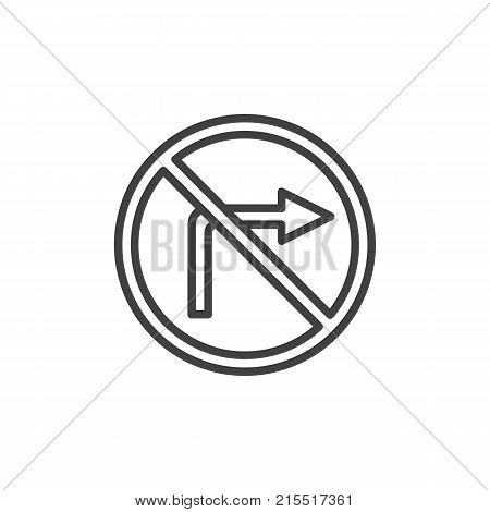 No turn right road line icon, outline vector sign, linear style pictogram isolated on white. Do not turn right traffic sign symbol, logo illustration. Editable stroke