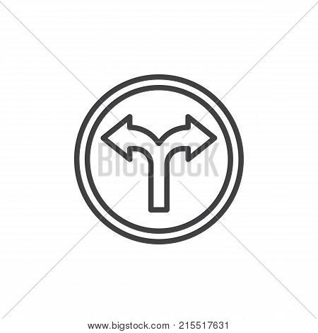 Crossroads spliting in two ways line icon, outline vector sign, linear style pictogram isolated on white. Fork junction traffic sign symbol, logo illustration. Editable stroke