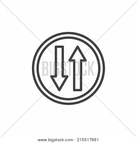Up and down arrows traffic sign line icon, outline vector sign, linear style pictogram isolated on white. Two ways road symbol, logo illustration. Editable stroke
