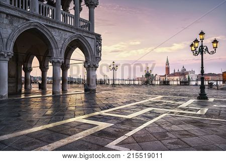 Venice landmark at dawn view of Piazza San Marco or st Mark square San Giorgio church and Ducale or Doge Palace. Italy Europe.