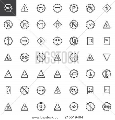 Road signs line icons set, outline vector symbol collection, linear style pictogram pack. Signs, logo illustration. Set includes icons as warning, priority, parking, disability, traffic