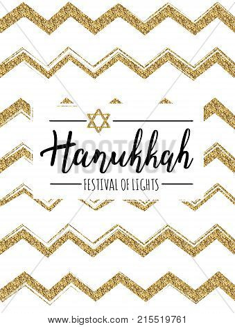 Vector illustration of Hanukkah (Festival of lights). Lettering text sign isolated on gold zigzags background. Judaism symbol. Hanukkah logo for greeting card template