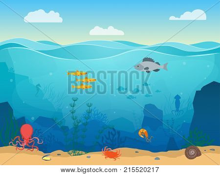 Cartoon Sea Underwater Nature Scene Color Background Web Flat Design with Fish, Seaweed and Sand. Vector illustration of Undersea Landscape