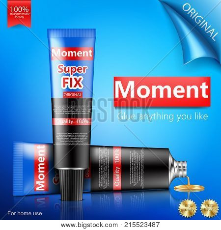 Colorful tubes of super moment glue with brand information realistic vector isolated on blue bent paper background. Original container of glue for instant gluing