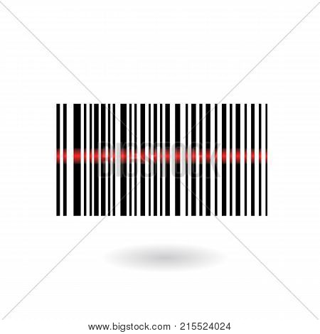 Barcode with. Scanning bar code. EAN code. Simple icon isolated on white background. Vector illustration.
