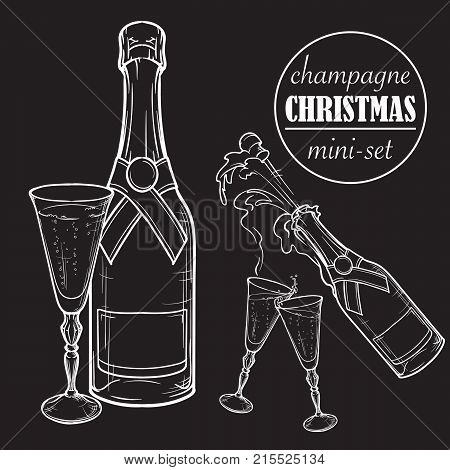 Champagne bottle and glasses. Closed and open champagne bottle and glasses, holiday toast, cork jumping out with explosion. Set of hand drawn EPS10 vector illustrations isolated on black background.
