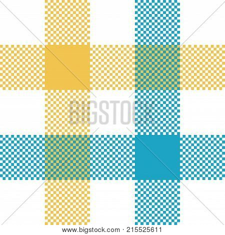 Check tablecloth pixel seamless fabric texture. Vector illustration.