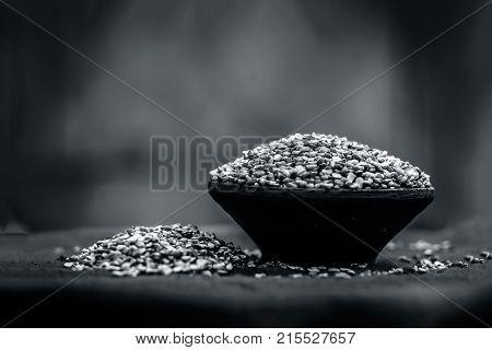 Vigna radiata, mung dal, Split Green gram in a clay bowl.