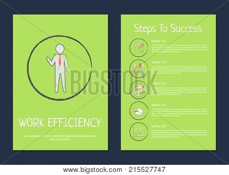 Work efficiency steps to success vector illustration on green background depicting a businessman in centerpiece circle and pictures followed by text
