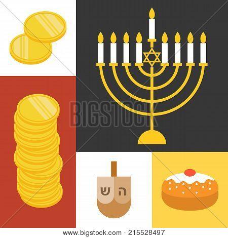 Vector hanukkah icons set, Jewish Holiday Hanukkah, flat design
