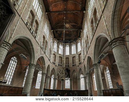 ALKMAAR NETHERLANDS - APRIL 21 2017: Interior of the Church of St. Lawrence (Grote Kerk or Great Church) in Alkmaar Netherlands.