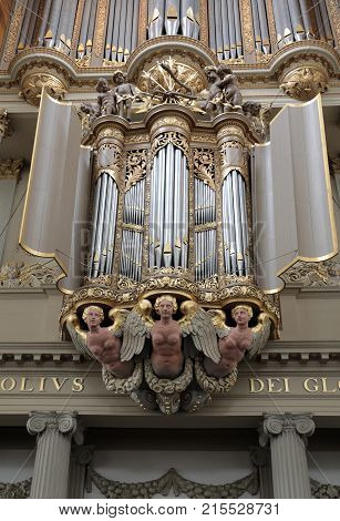 ALKMAAR NETHERLANDS - APRIL 21 2017: The two organs inside the Church of St. Lawrence (Grote Kerk or Great Church) in Alkmaar Netherlands.