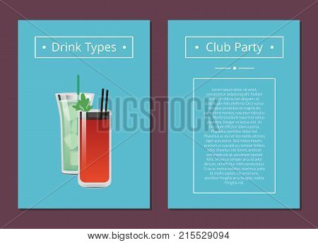 Club party drinks type promo poster with cocktails bloody mary and mojito, filled with ice, straw inside, vector illustration place for text on blue