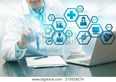 Doctor With Medical Science Icon Modern Interface
