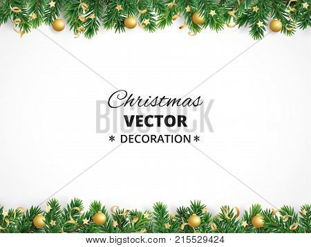 Winter holiday background. Border with Christmas tree branches isolated on white. Garland, frame with hanging baubles, streamers. Great for Christmas, New year cards, banners, headers, party posters.
