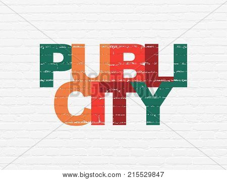 Advertising concept: Painted multicolor text Publicity on White Brick wall background