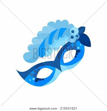 Blue carnival mask with feathers, masquerade mask vector Illustration on a white background