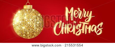 Hanging Christmas golden ball on red background. Sparkling metal glitter bauble. Merry Christmas hand drawn text. For Christmas and New Year cards, gift tags, labels, party posters, banners, headers.
