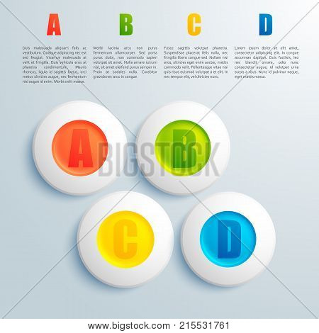 Business design concept with round elements and ordered descriptions on light grey background flat vector illustration