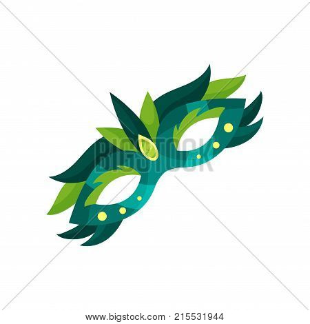 Colorful carnival mask with feathers, masquerade mask vector Illustration on a white background