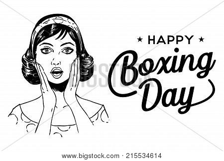 Boxing Day Poster, Surprised Woman Face with text Happy Boxing Day, Vector
