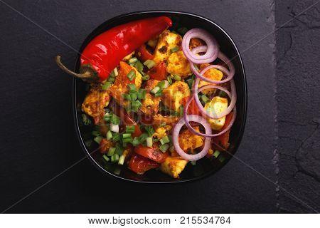 Indian Cuisine. Paneer Tikka Kabab. Asian Salad. Top View