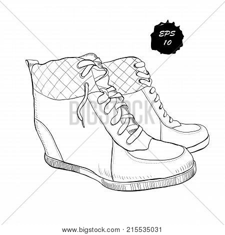 Vector illustration of hand drawn graphic women Footwear, shoes, Shoe for casual and sport style, gumshoes, boots for cold seasons. Doodle, drawing Design isolated object.