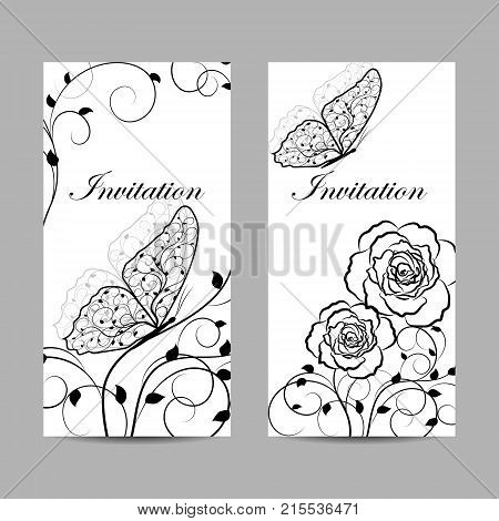 Set of natural invitation cards design. Black plant pattern and butterflies on white background. Vector illustration.