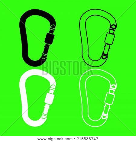 Safety Hook Or Carabiner Hook Icon  Black And White Color Set