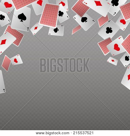 Falling playing cards isolate. Vector template for casino and gambling concept. Poker game card, gamble and chance, copyspace banner illustration