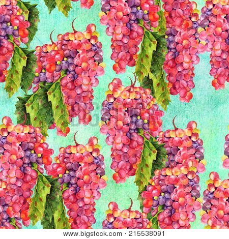 A seamless pattern with a vintage style watercolor drawing of a vibrant bunch of wine grapes with a green leaf. Wine related repeat print on a teal texture