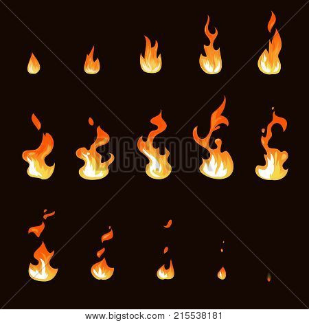 Cartoon fire flame sheet sprite animation vector set. Illustration of fire motion animation, hot flame cartoon animated