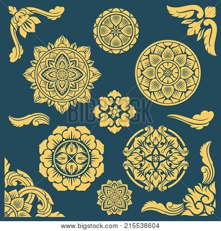 Thai, indian and persian ethnic decorative vector patterns and frames. Illustration of floral decorative frame, ornament round medallion