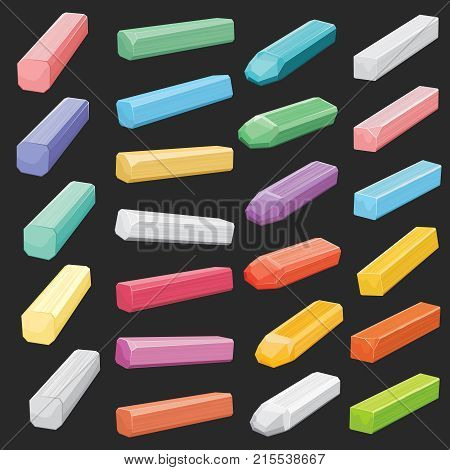 Color chalk pastel sticks, artist supplies vector set isolated. Chalk stick for drawing, vivid school chalk collection illustration