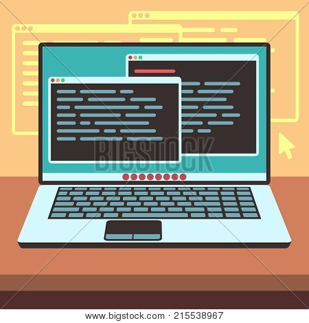 Java code on laptop screen. Programming and coding vector concept. Java coding program software, illustration of development and programming computer